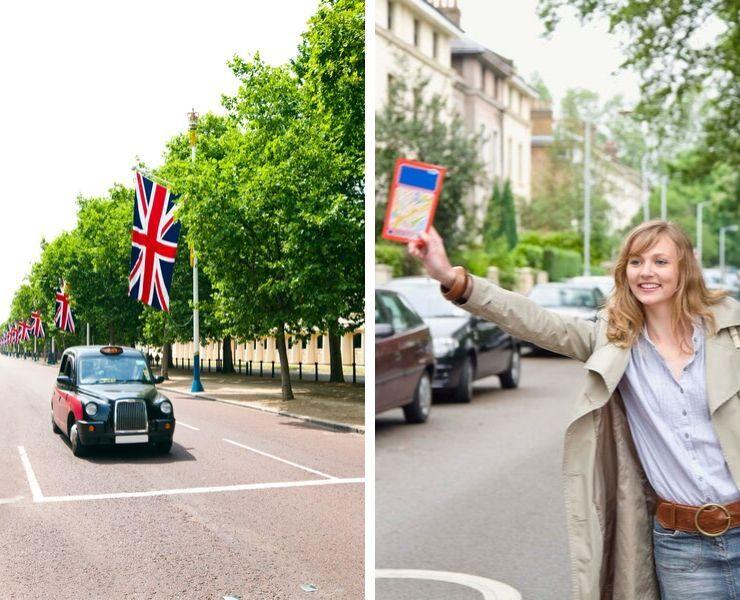 A woman hailing a cab.