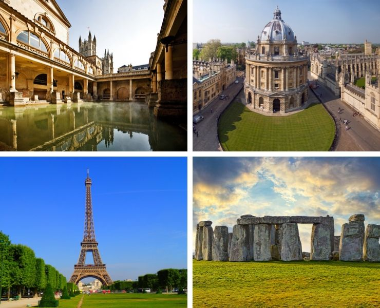 An image showing 4 day trip destinations including Oxford, Paris, Bath and Stonehenge.