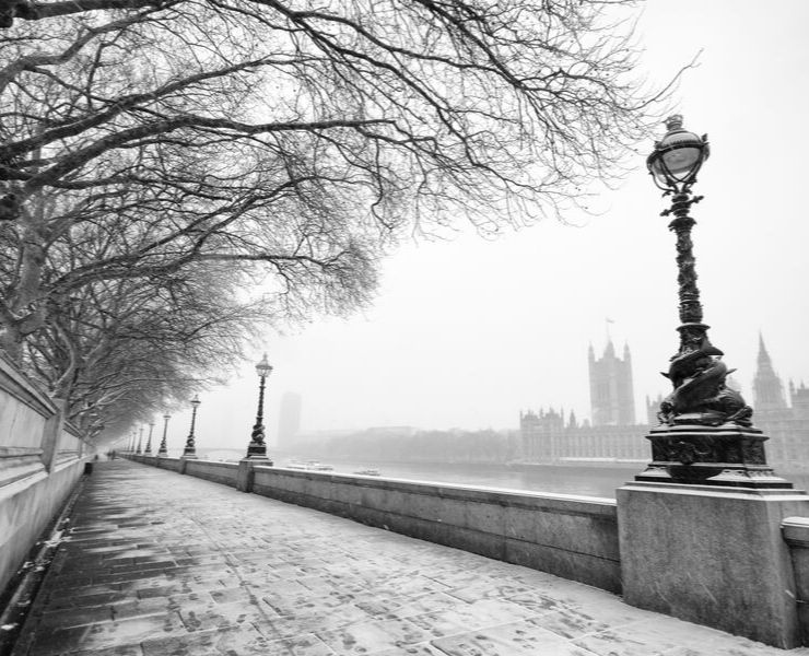 Snow on the London streets