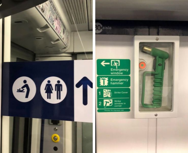 Signs on a train and the emergency hammer