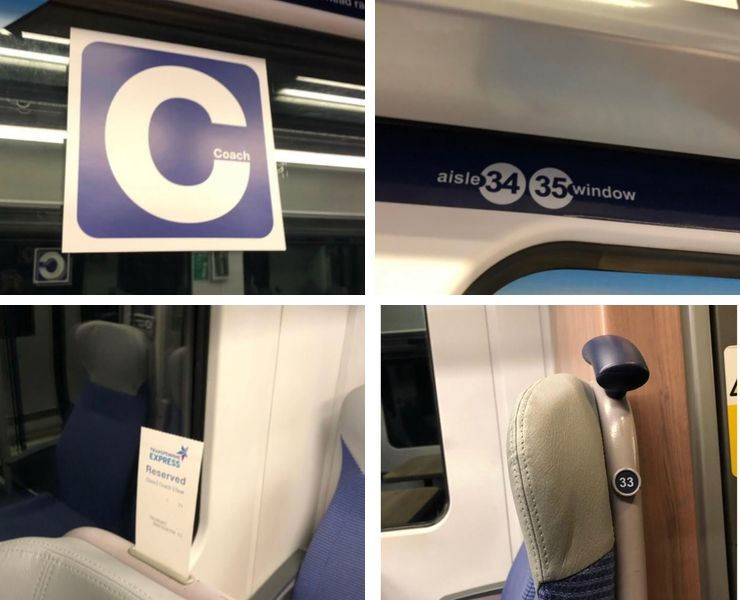 Pictures showing train seating plans on trains in the Uk