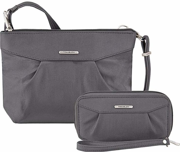 Travelon Anti-Theft Crossbody and RFID Clutch - Small Handbag & Wallet Set for Travel & Everyday