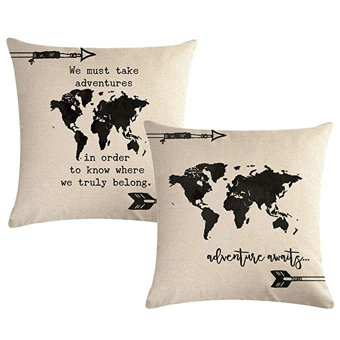 World Map Cushion Covers