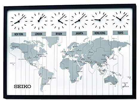 Seiko Classic Six City World Time Wall Clock