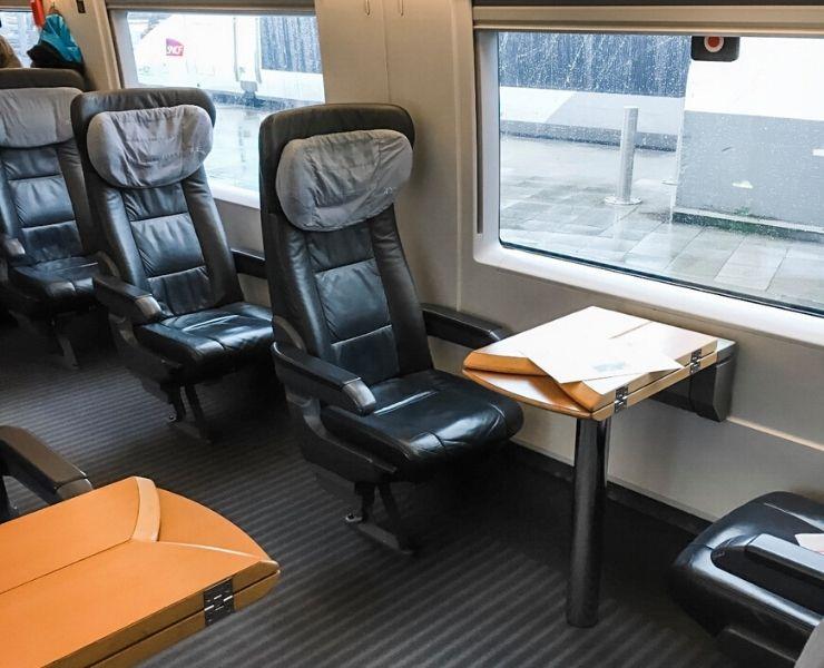 Inside a Eurostar train