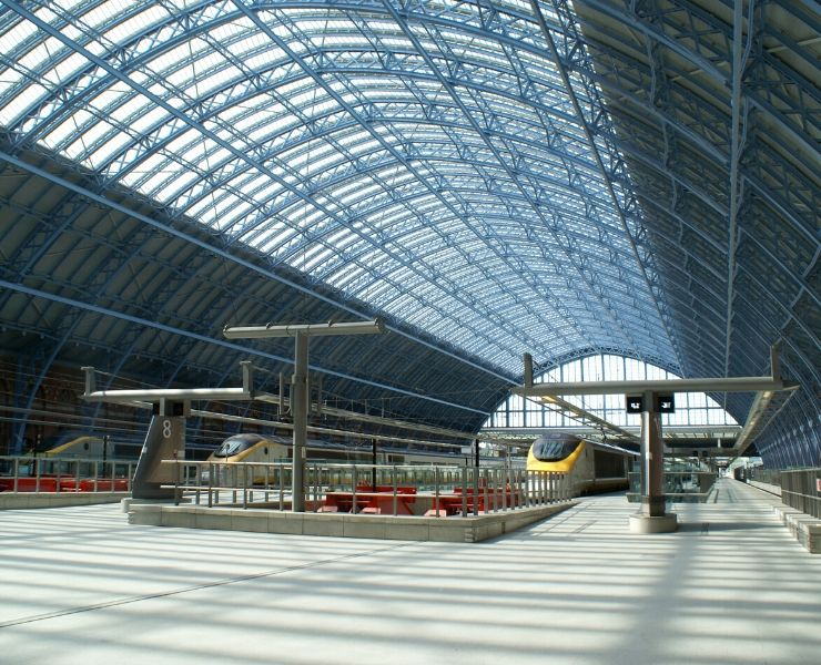 St Pancras station and the Eurostar waiting at the platform