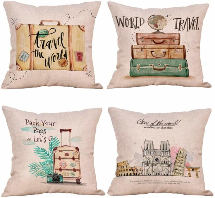 Travel Theme Cotton Cushion Covers