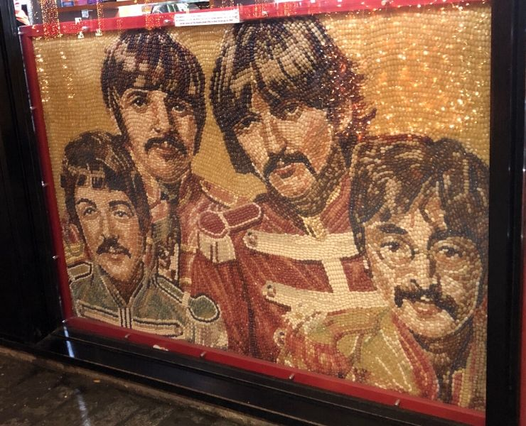 Things to do in Liverpool for Beatles fans - a jelly bean portrait of the Beatles