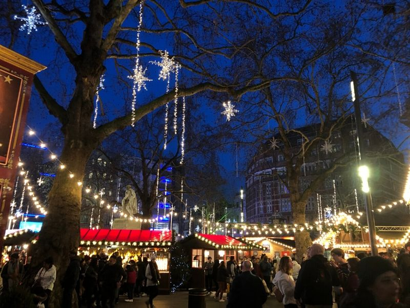 Christmas decorations in Leicester Square a London bucket list choice for many people