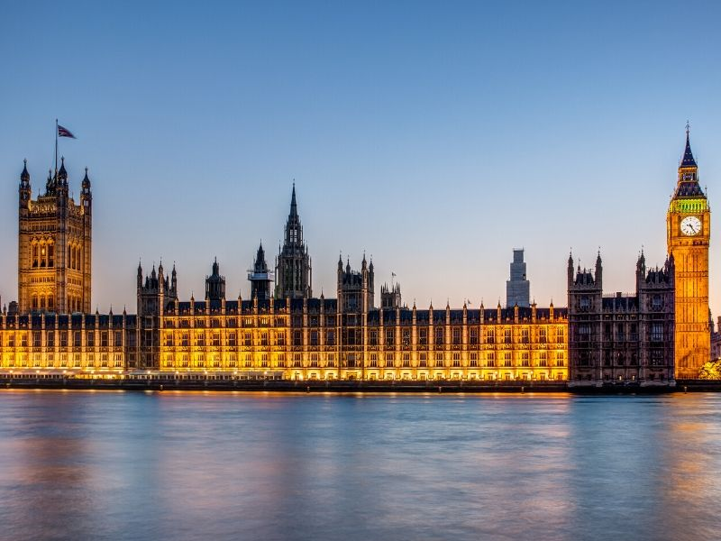A picture of the Houses of Parliament in London
