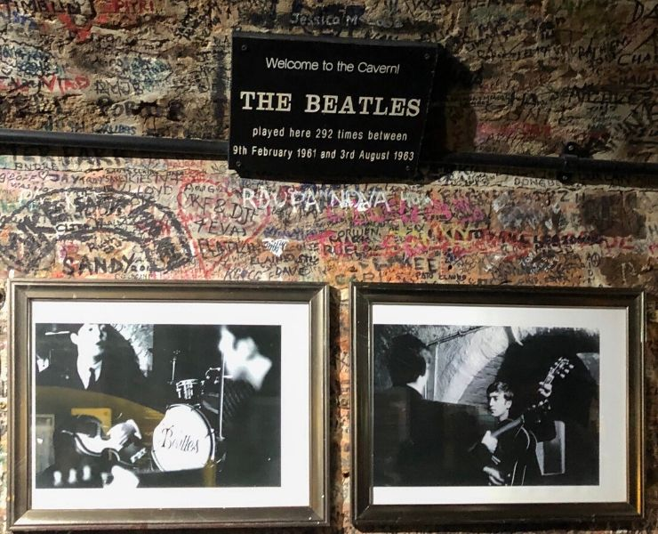 A sign welcoming people to the Cavern Club in Liverpool