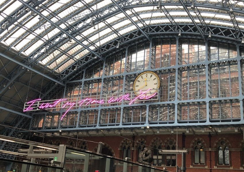 St Pancras sign by Tracey Emin