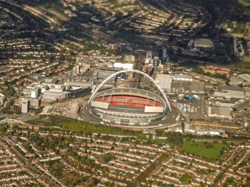 An aerial photograph of Wembley Stadium in London