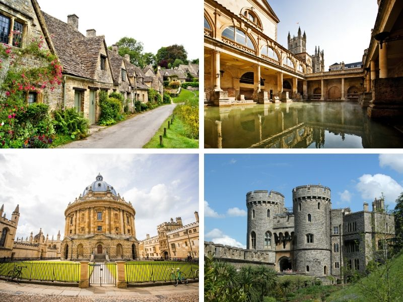 4 photographs of places in England- a row of houses, a baths, a castle and an old round building