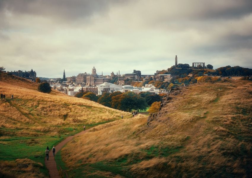 A photo taken overlooking Edinburgh from Arthur's Seat