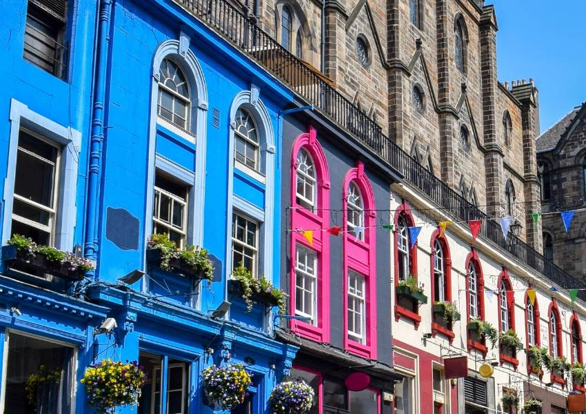 Colourful houses in Victoria Street Edinburgh