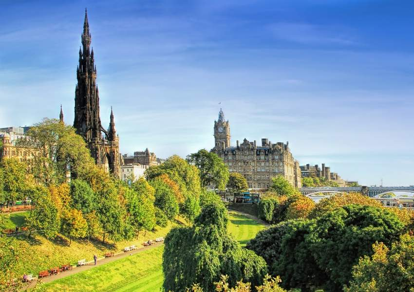 View of Scott Monument in Edinburgh