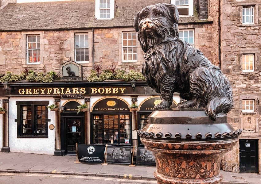 A statue of Greyfriars Bobby in Edinburgh