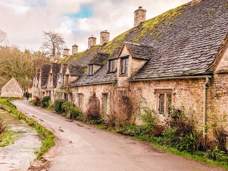a row of stone cottages