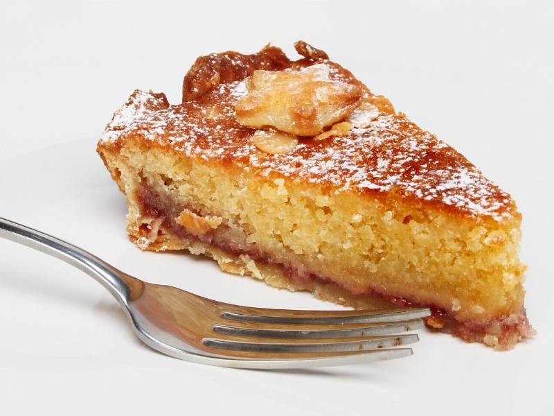 Bakewell slice with a fork next to it