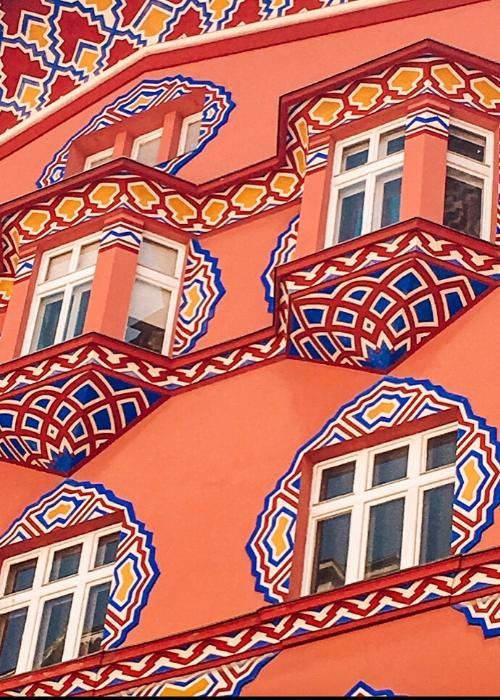 Beautifully decorated buildings in Ljubljana