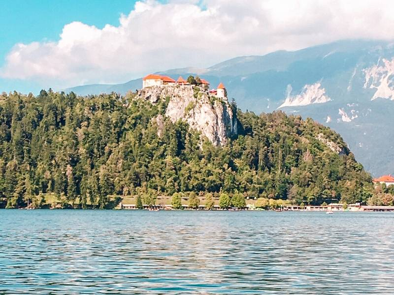 Lake Bled castle as seen from the lake