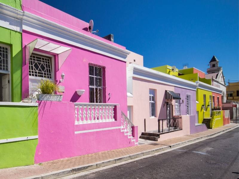Brightly coloured houses in Bo Kaap Cape town