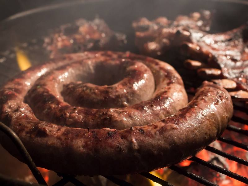 Borewors sausage on a grill one of the most popular South African foods to try