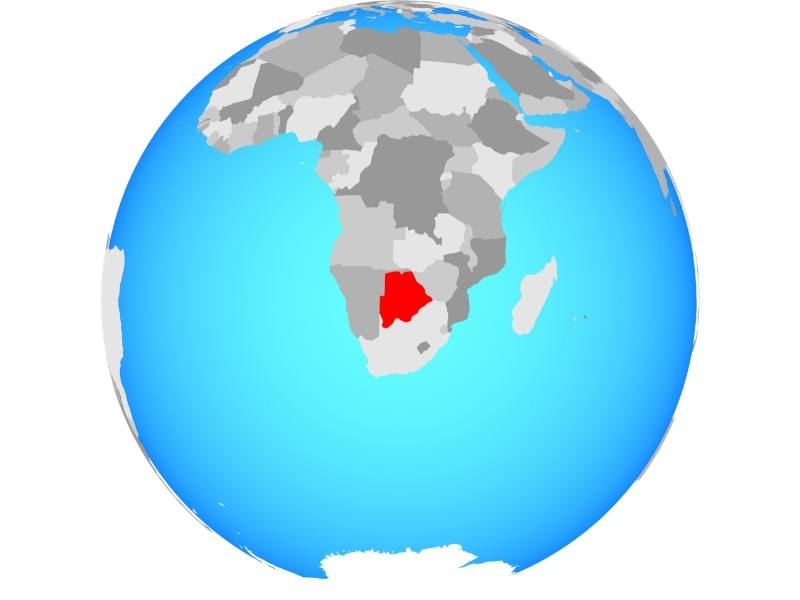 World map showing Botswana in red