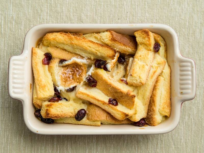 Bread and Butter Pudding in a white dish