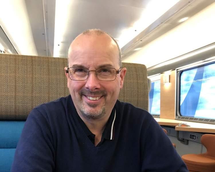 Man sitting on a train