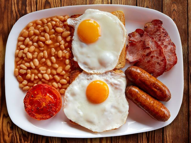 English breakfast with eggs, bacon, sausage and toast