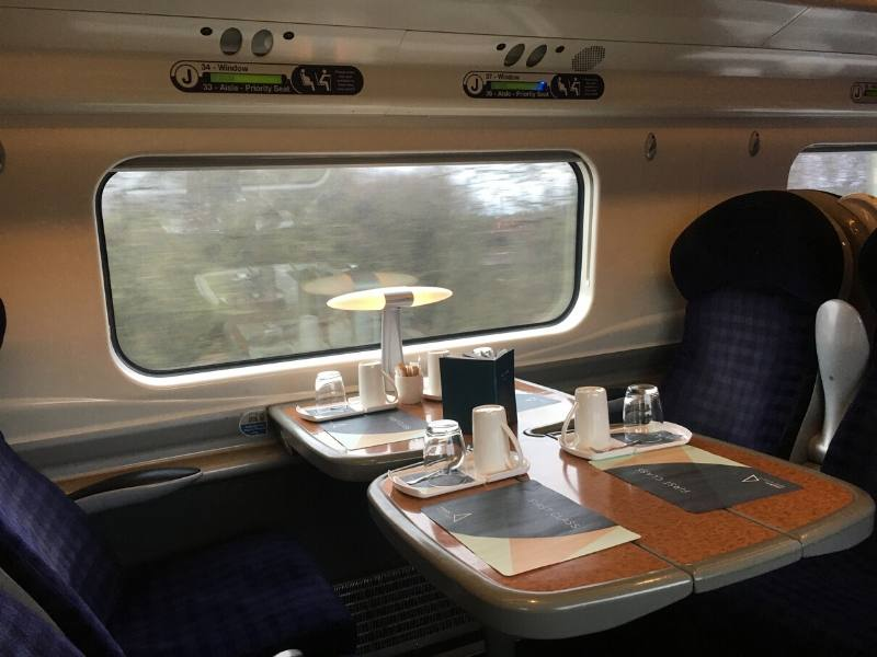 Inside a first class train carriage in England