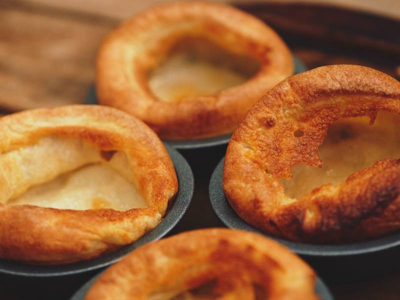 Yorkshire Puddings are a traditional English food eaten with Sunday Roast