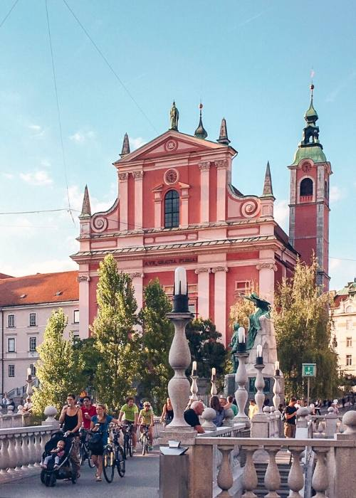 Franciscan Church on Perseren Square can't be missed when visiting Ljubljana
