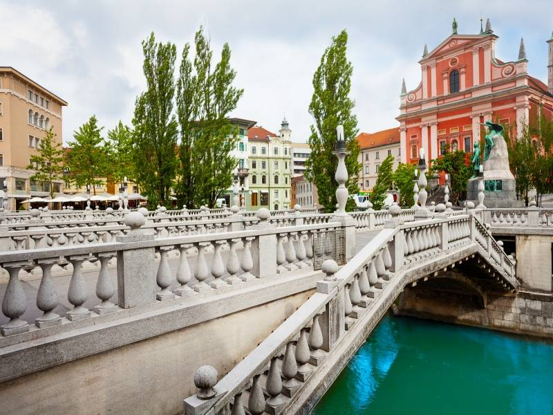Triple bridge in the centre of Ljubljana