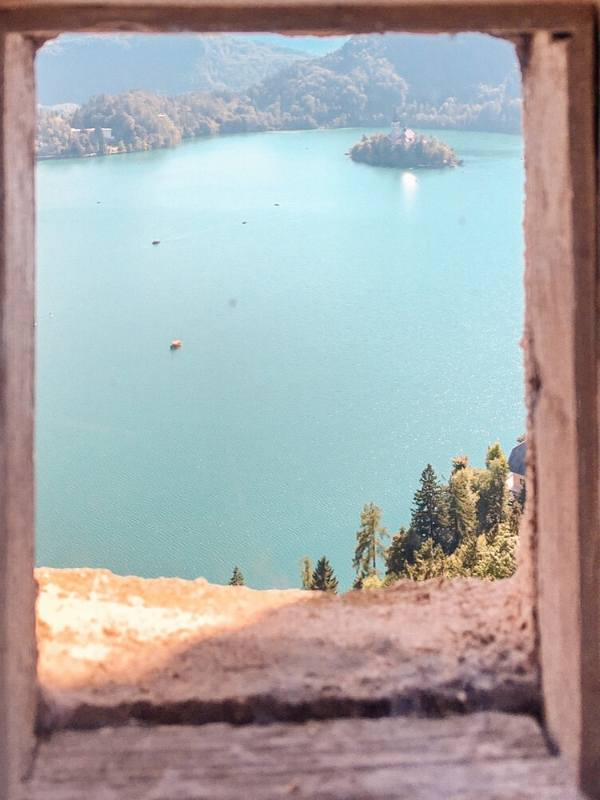 View of Lake Bled island from the castle
