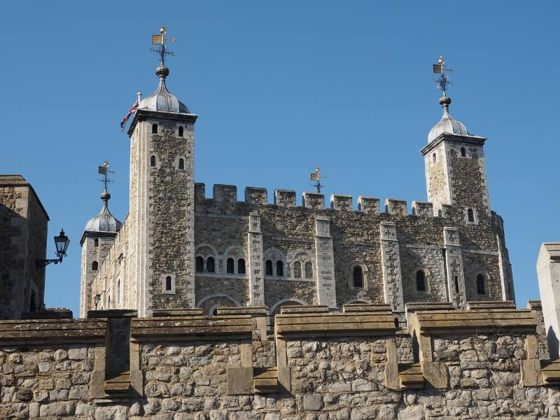 The White Castle at the Tower of London behind a stone wall