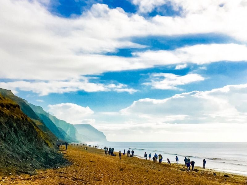 people lining a beach with a blue sky