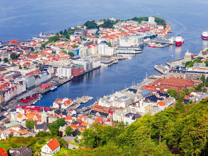 An aerial view of Bergen in Norway