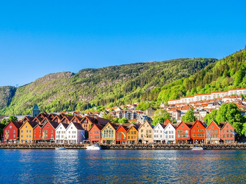 A row of colourful houses on the seafront one of the must see places when visiting Bergen