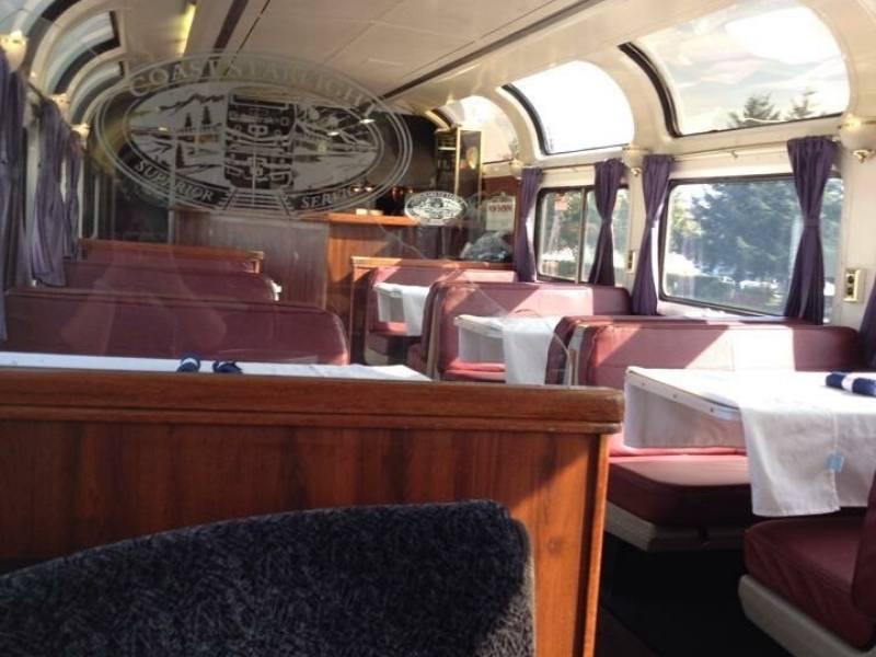 Parlour car on the Coast Starlight train.