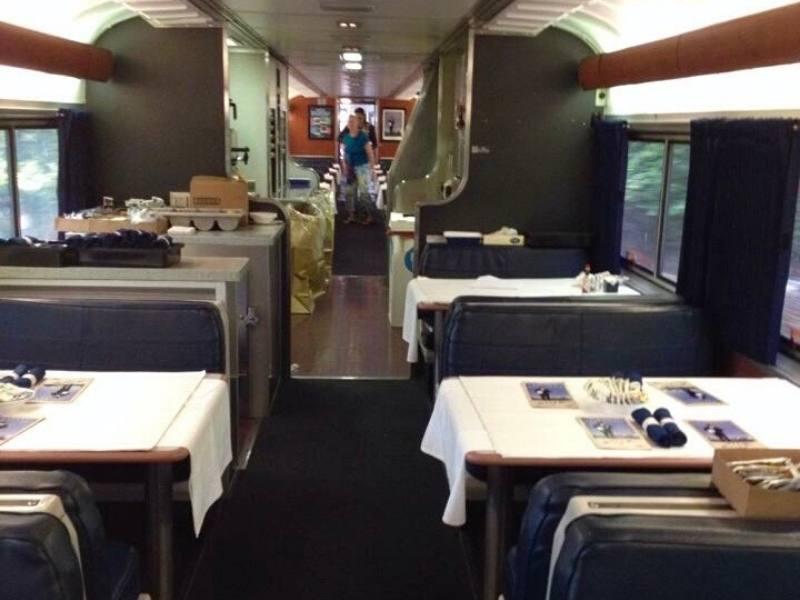 Dining car on the Coast Starlight train.