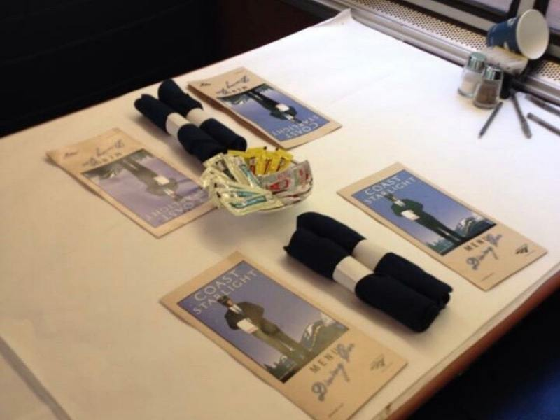 Table setting in the dining car of the Coast Starlight train.
