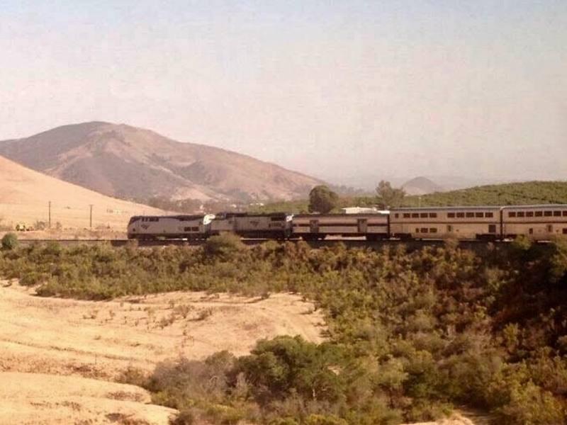 View of the Coast Starlight train in California