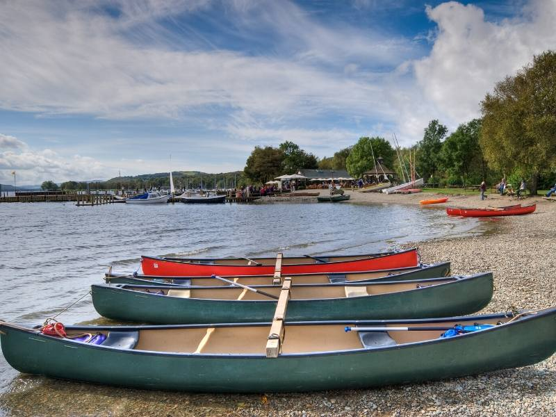 Boats on the banks of Coniston Water in the Lake District