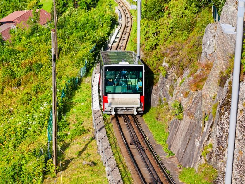 A funicular on a train line