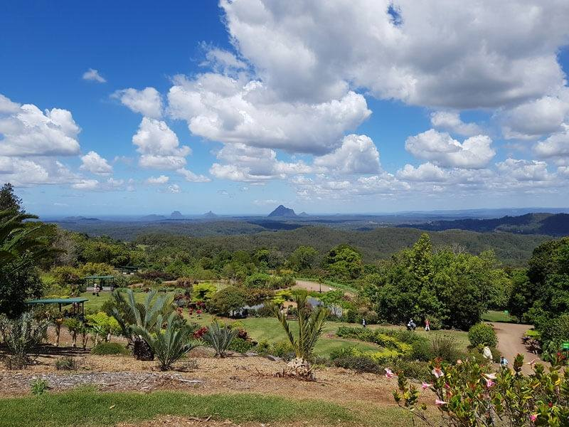 A view of the Glasshouse Mountains one of the things to do and see in the Sunshine Coast Hinterland