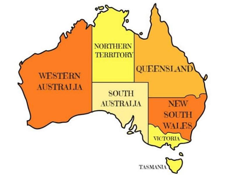 Map of Australia showing different states