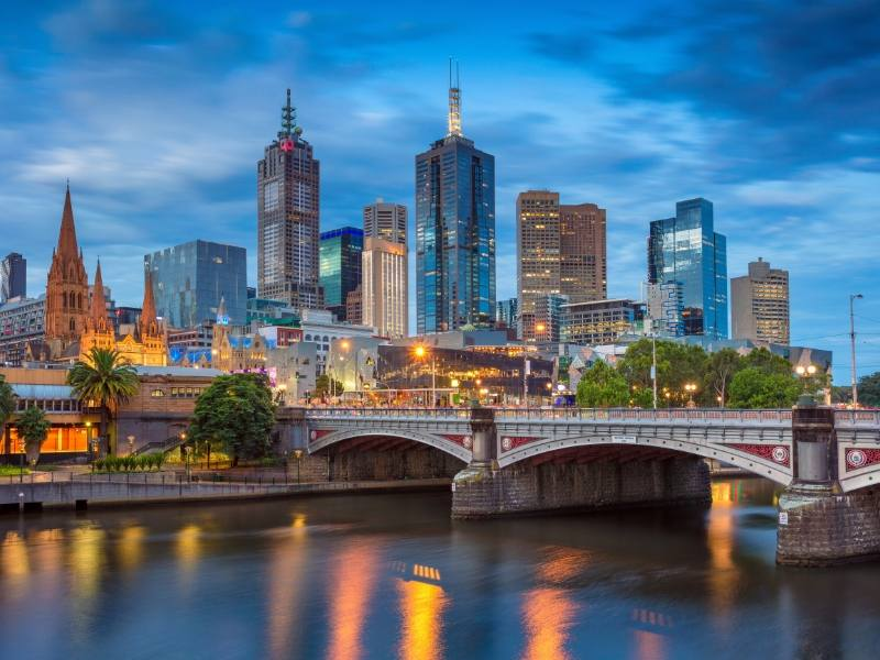 A photo of Melbourne Australia at night